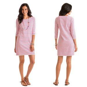 Vineyard Vines Stripe Cotton Knit Dress Pink XS